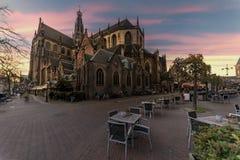 Sunset on Bavo church at Haarlem Stock Photo