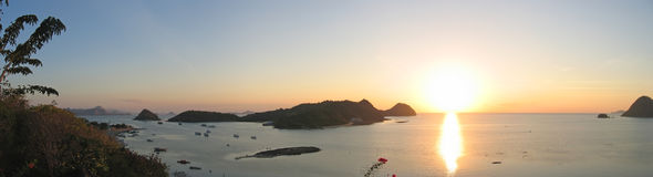 Sunset on the bay. Labuan Bajo - Flores - Indonesia - Big panorama Royalty Free Stock Photo