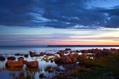 Sunset in a bay Stock Photography