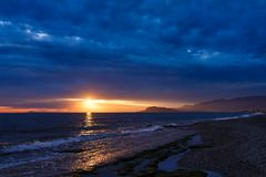 Sunset in the Bay of Alanya Royalty Free Stock Images