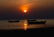 Romantic sunset pure love silhouette. Perfect sunset background photograph with natural view and fishing boats around the Bay of Bengal in Bangladesh stock images