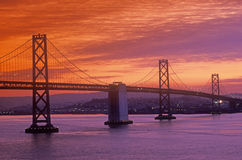 Sunset on the Bay Bridge to San Francisco from Treasure Island, California Stock Image