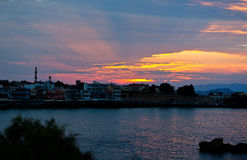 Sunset bay harbor Hania city, Crete, Greece Royalty Free Stock Photography