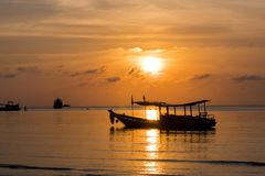 Sunset in the bay of koh tao. Thailand koh tao islands, sunset in the bay of koh tao Royalty Free Stock Image