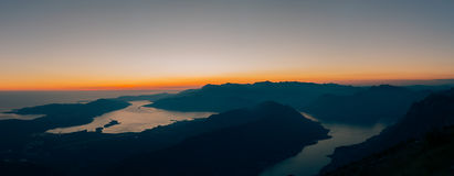 Sunset in the Bay of Kotor. Montenegrin sunsets. Sunset over the Stock Images