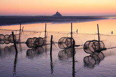 Sunset in the bay of mont saint michel. (normandy, france Royalty Free Stock Images