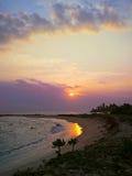 Sunset bay with plants and sun, Kamburugamuwa, Sri Lanka Stock Image