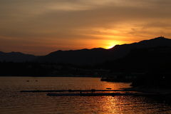 Sunset and bay. Take photo on 2nd June at hong kong Royalty Free Stock Photo