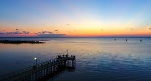 Sunset at Bayfront Park in Daphne, Alabama. Dusk at Eastern shore park of Mobile Bay Stock Image
