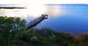 Sunset at Bayfront Park in Daphne, Alabama. Dusk at Eastern shore park of Mobile Bay Stock Images