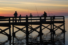 Sunset in Bayport. Fishermen take advantage of a gorgeous sunset in Bayport, Florida Royalty Free Stock Photography