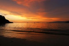 Sunset on the beach. Sunset on the a beach in Thailand. Koh Lipe Royalty Free Stock Photo
