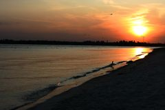 Sunset on the beach. Background Royalty Free Stock Photo