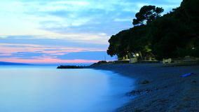Sunset in Beach. Beautiful Sunset, Beach in Brela, Croatia Stock Photography
