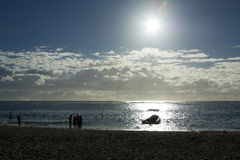 Sunset beach. Mauritian Beach in the afternoon sun, Flic en Flac Royalty Free Stock Images