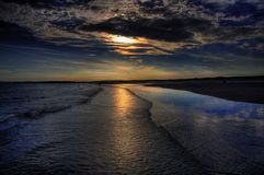 Sunset Beach. Sunset at Camber Sands Beach, East Sussex UK Royalty Free Stock Photos