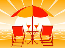 Sunset on beach. Illustrated deck chairs, drinks and umbrella on the beach in sunset Stock Images