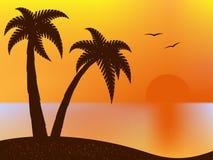 Sunset on the beach stock illustration