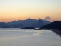 Sunset on the beach. In Niterói, Rio de Janeiro, Brazil stock images