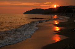 Sunset on a beach. From Thassos island, Greece Royalty Free Stock Photography