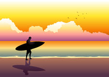 Sunset Beach. Illustration of a surfer walking at the beach during sunset Royalty Free Stock Photos