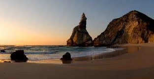 Sunset beach. Summer view of a desert beach against a beautiful sunset sky stock images