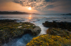 Sunset at the beach. Beautiful evening scenery one of beaches around Sawarna, Banten, Indonesia Royalty Free Stock Photos