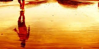 Sunset beach. A boy's reflection on the golden beach in sunset Stock Photo