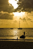 Sunset on beach. A sunset beach on Seychelles Royalty Free Stock Images