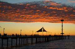 Sunset at the Beach. Sunset and the Brighton Jetty, Adelaide, South Australia royalty free stock photos