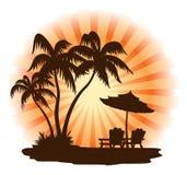Sunset beach Vector Illustration