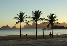 Sunset at the beach. In rio de janeiro, brazil Stock Image