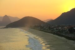 Sunset on the beach. Showing the Sugar Loaf in the back, rio de janeiro, brazil Royalty Free Stock Images