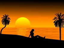 Sunset on the beach. Vector illustration Royalty Free Stock Photos