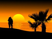 Sunset on the beach. Vector illustration Royalty Free Stock Photography