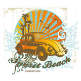 Sunset Beach. Summer illustration with vintage car and floral elements Stock Photos
