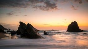 Sunset on the beach royalty free stock photos