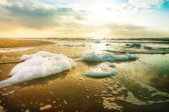 Sunset on the Beach / Algal bloom Royalty Free Stock Image