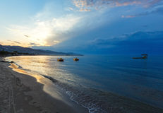 Sunset on beach (Alykes, Zakynthos, Greece) Royalty Free Stock Photos