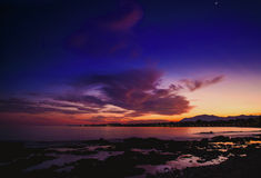 Sunset on the beach ancón in the city of Marbella Stock Photo