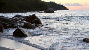 Sunset on the beach of Anse Lazio stock footage