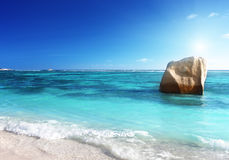 Sunset on the beach, Anse Source d'Argent, La Digue island Stock Image