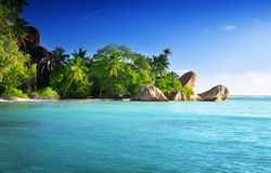 Sunset on the beach, Anse Source d'Argent, La Digue island Stock Photos