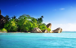 Sunset on the beach, Anse Source d'Argent, La Digue island Stock Photography