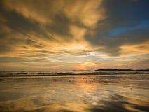 Sunset on the beach of Ao Nang Royalty Free Stock Photo
