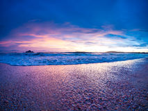 Sunset on the beach of Ao Nang Stock Images