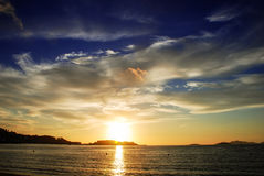 Sunset. From the beach of Baiona, Spain Royalty Free Stock Photography