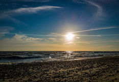 Sunset on the Baltic Sea. Beach royalty free stock photography