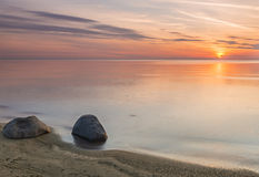 Sunset at a beach of the Baltic Sea, Latvia Royalty Free Stock Photography