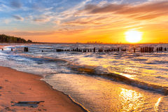 Sunset on the beach at Baltic Sea Royalty Free Stock Images